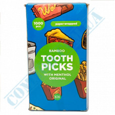 Bamboo Toothpicks | 68mm | individually paper wrapped | with mint | KTP | 1000 pieces per pack