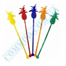 Stirrers for cocktails 20cm plastic colored Pineapple 100 pieces per pack