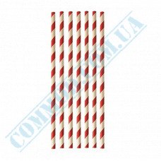 Drinking paper straws Ǿ=6mm L=200mm without corrugation red-white 25 pieces per pack