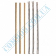 Paper wrapped drinking paper straws Ǿ=6mm L=200mm without corrugation kraft 100 pieces per pack