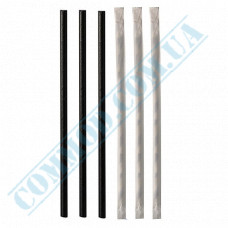 Paper wrapped drinking paper straws Ǿ=6mm L=200mm without corrugation black 100 pieces per pack