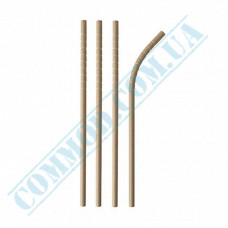 Drinking paper straws Ǿ=6mm L=200mm flexible kraft 100 pieces per pack