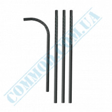 Straws for drinks   paper   flexible   Ǿ=6mm L=200mm   black   100 pieces per pack