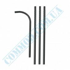 Drinking paper straws Ǿ=6mm L=200mm flexible black 100 pieces per pack