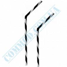 Plastic flexible fresh straws Ǿ=8mm L=25cm black-white spiral 100 pieces per pack