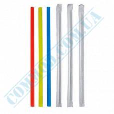 Paper wrapped plastic milkshake straws Ǿ=6,8mm L=21cm without corrugation colored 200 pieces per pack