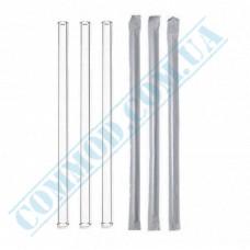 Paper wrapped plastic milkshake straws Ǿ=6,8mm L=21cm without corrugation transparent 200 pieces per pack