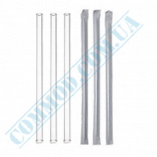 Cocktail straws   plastic   not flexible   Ǿ=7mm L=210mm   Crystal   individually in paper   200 pieces per package