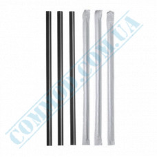 Paper wrapped plastic milkshake straws Ǿ=6,8mm L=21cm without corrugation black 200 pieces per pack
