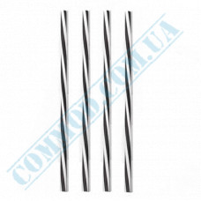 Fresh straws   plastic   not flexible   Ǿ=8mm L=250mm   black and white spiral   500 pieces per pack