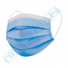 Medical protective masks three-layer blue spunbond 50 pieces per pack (Ukraine)