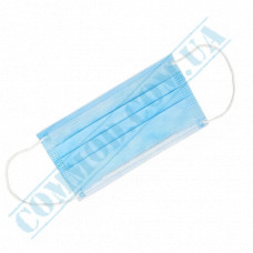 Medical masks blue non-woven spunbond 3 layers (China), 25 pieces in a vacuum package