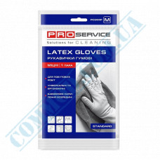 Latex yellow household gloves with cotton dusting size - M Standard PRO Service
