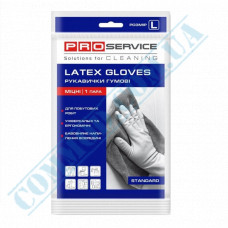 Latex yellow household gloves with cotton dusting size - L Standard PRO Service