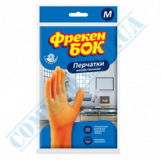 Household gloves latex orange with cotton dusting size - M Freken Bock