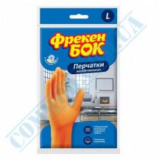 "Household gloves latex orange with cotton dusting size ""L"" Freken Bock"