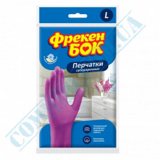 Latex household gloves pink with cotton dusting super strong size - L Freken Bock