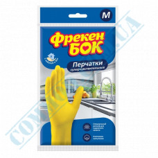 Household gloves latex yellow with cotton dusting super sensitive size - M Freken Bock