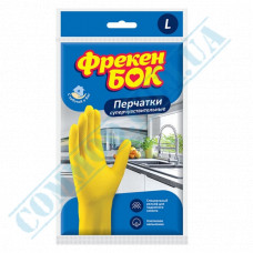 """Household gloves latex yellow with cotton dusting super sensitive size """"L"""" Freken Bock"""
