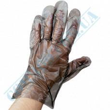 Black polyethylene gloves on a carton 100 pieces per pack
