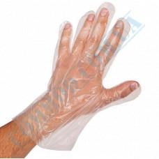 Transparent polyethylene gloves 100 pieces in polyethylene packaging on a cardboard