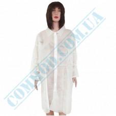 "Bathrobe non-woven spunbond white with buttons size ""XL"""