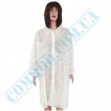"""White spunbond dressing gown with buttons size """"XL"""" 5 pieces (China)"""