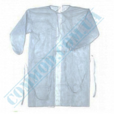 White polypropylene dressing gown with ties size - XL 20 pieces per pack