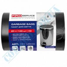Garbage bags 20L polyethylene HD 7mkm Black 100 pieces per roll PRO Service