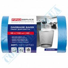 Garbage bags 35L polyethylene HD 7mkm Blue 100 pieces per roll PRO Service