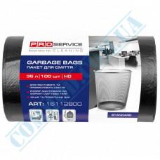 Garbage bags 35L polyethylene HD 7mkm Black 100 pieces per roll PRO Service