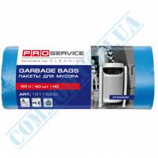 Garbage bags 60L polyethylene HD 8mkm Blue 40 pieces per roll PRO Service