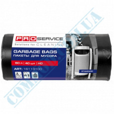 Garbage bags 60L polyethylene HD 8mkm Black 40 pieces per roll PRO Service