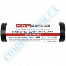 Garbage bags 120L polyethylene LD 20mkm Black 10 pieces per roll PRO Service