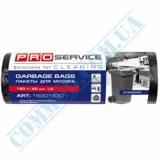 Garbage bags 120L polyethylene LD 21mkm Black 20 pieces per roll PRO Service
