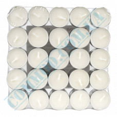 Tea candles Ǿ=38mm h=16mm white 50 pieces per pack in a metal case