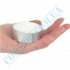 Tea candles   Ǿ=59mm h=24mm   white   burning time 10 hours   40 pieces per pack