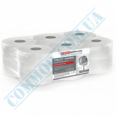 Toilet paper Jumbo 2-ply white 120m Premium PRO Service (outer diameter Ǿ=170mm, height h=100mm, number of tear-off sheets - 1000 pieces, without embossing)