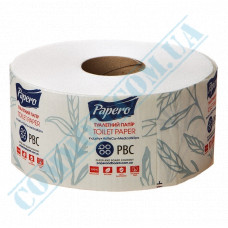 Toilet paper Jumbo 2-ply white 120m 12 rolls per pack of Papero (outer diameter Ǿ=190mm, height h=91mm, number of tear-off sheets 960 pieces, with embossing)