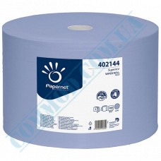 Paper towel in a roll 360m Ǿ=350mm h=220mm 3-ply industrial wiping Blue Papernet (Germany) article 402144