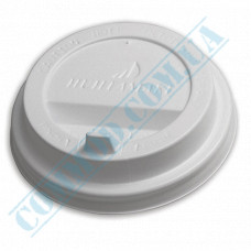Plastic PS lids Ǿ=80mm for paper cups 250-340ml white with Huhtamaki valve (Poland) 100 pieces per pack