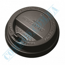 Plastic PS lids Ǿ=80mm for paper cups 250-340ml black with valve 100 pieces in a package Huhtamaki (Poland)