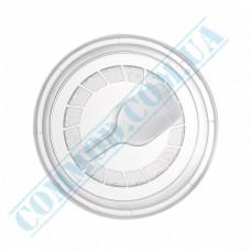 Transparent flat plastic lids Ǿ=75mm with a spoon 50 pieces