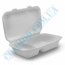 Lunch boxes 240*162*61mm from sugarcane white 2 sections 50 pieces per pack
