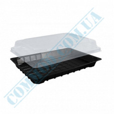 Sushi plastic black containers 184*129*54mm with a transparent lid 50 pieces