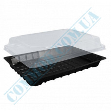 Sushi plastic black containers 224*150*64mm with a transparent lid 50 pieces