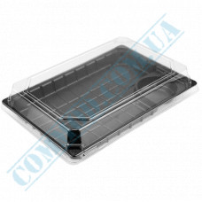 Sushi containers 224*150*64mm plastic black with a compartment for sauce and a transparent lid 50 pieces