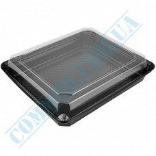 Sushi plastic black containers 270*200*67mm with a transparent lid 50 pieces