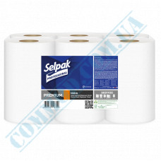 Single-layer paper towel in a roll 140m Ǿ=135mm h=210mm with central hood White Selpak