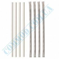 Paper wrapped drinking paper straws Ǿ=6mm L=200mm without corrugation white 100 pieces per pack